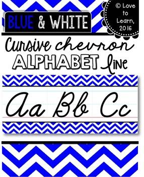 Cursive Alphabet Line - Blue & White Chevron