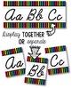 Cursive Alphabet Line - Bright & Black Vertical Stripes