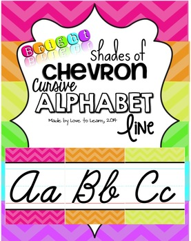 Cursive Alphabet Line - Bright Shades of Chevron