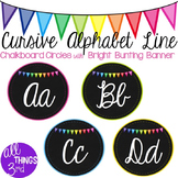 Cursive Alphabet Line - Chalkboard Circles with Bright Bunting Banner