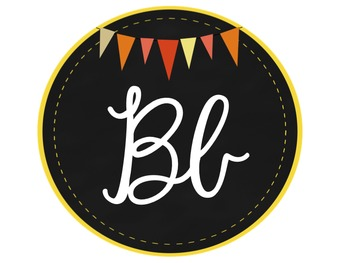 Cursive Alphabet Line - Chalkboard Circles with Orange Bunting Banner