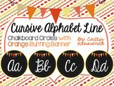 Cursive Alphabet Line - Chalkboard Circles with Orange Bun