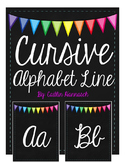 Cursive Alphabet Line - Chalkboard Square with Bunting Banner