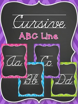 Cursive Alphabet Line - Chevron Brights (Pink, Blue, Purple, Green)
