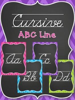 Cursive Alphabet Line - Chevron Brights (Pink, Blue, Purple, Green)