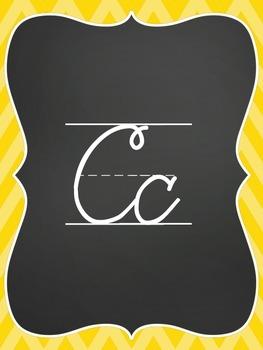Cursive Alphabet Line - Chevron Brights (Pink, Blue, Yellow, Purple, Green)