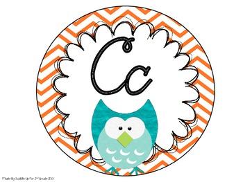 Cursive Alphabet Line: Chevron and Owls