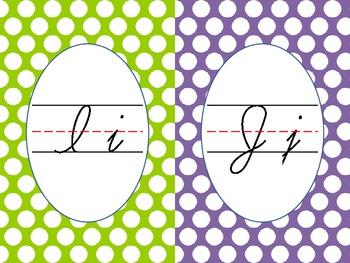 Cursive Alphabet Line Colorful Polka Dots