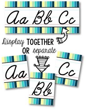 Cursive Alphabet Line - Cool Shades Vertical Stripes