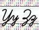 Cursive Alphabet Line - Funky Rainbow Polka Dot