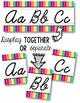 Cursive Alphabet Line - Funky Rainbow Vertical Stripes