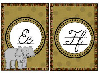 Cursive Alphabet Line Jungle Theme