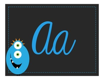 Cursive Alphabet Line - Monster Theme