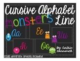 Cursive Alphabet Line - Monster Theme