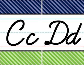 Cursive Alphabet Line - Navy & Lime Diagonal Stripe