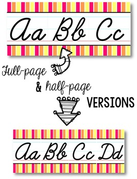 Cursive Alphabet Line - Pink, Orange & Yellow Vertical Stripes