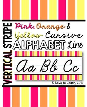 Cursive Alphabet Line - Pink, Orange & Yellow Vertical Stripes