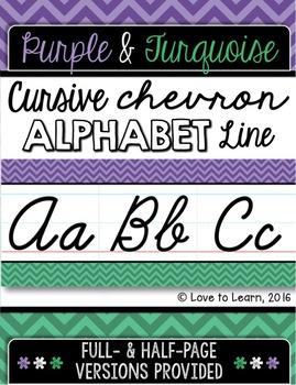 Cursive Alphabet Line - Purple & Turquoise Chevron