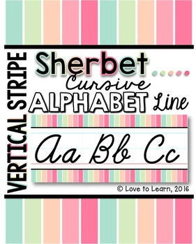 Cursive Alphabet Line - Sherbet Vertical Stripes