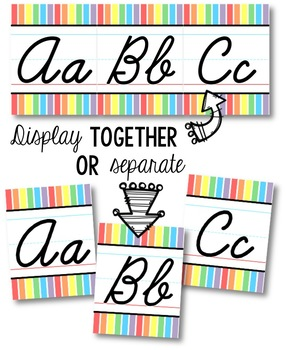 Cursive Alphabet Line - Soft Rainbow Vertical Stripes