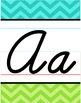 Cursive Alphabet Line - Turquoise & Lime Chevron