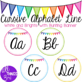 Cursive Alphabet Line - White and Brights with Bunting Banner