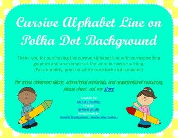 Cursive Alphabet Line - Yellow Polka Dots