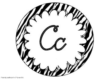 Cursive Alphabet Line: Zebra
