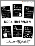 Cursive Alphabet Math Posters for Upper Elementary - Black