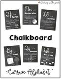 Cursive Alphabet Math Posters for Upper Elementary - Chalkboard