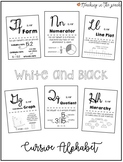 Cursive Alphabet Math Posters for Upper Elementary - White