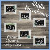 Cursive Alphabet Mini-Posters - RUSTIC FARMHOUSE Themed