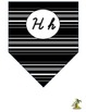 Cursive Alphabet Pennant Banner (Black and White)