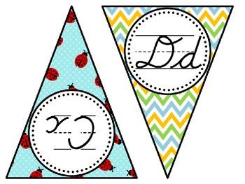 Cursive Alphabet Pennant Flags Ladybugs