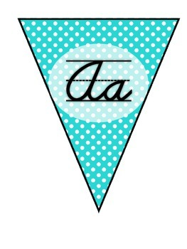 Cursive Alphabet Pennants in Bright Blue Chevron and Polka Dots