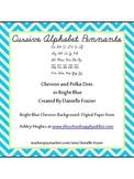 Cursive Alphabet Pennants in Bright Blue Chevron and Polka Dots