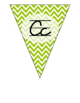 Cursive Alphabet Pennants in Lime Chevron