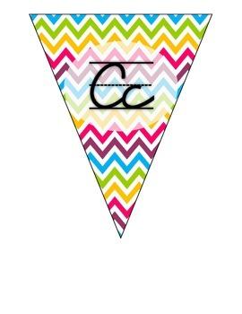 Cursive Alphabet Pennants in Multi-Color (Rainbow) Chevron