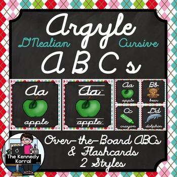 D'Nealian Cursive Alphabet Picture Cards & Flashcards {Argyle}