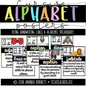 Cursive Alphabet Posers | Handwriting Lines & Academic Vocabulary