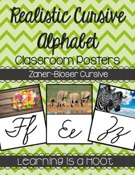 Cursive Alphabet Poster (Real Photo Images) - Zaner-Bloser