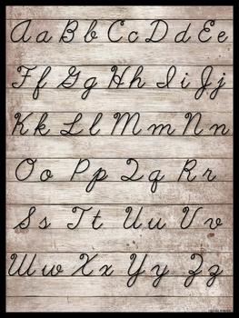 Cursive Alphabet Poster Rustic Theme