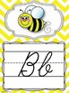 Cursive Alphabet Posters in a Primary Colors Chevron Classroom Decor Theme