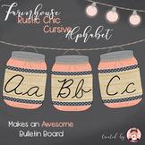 Cursive Alphabet Mason Jars Coral (Editable)