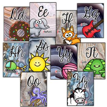 Cursive Alphabet Posters- Agate Classroom Decor