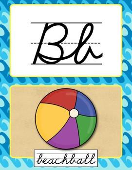 Cursive Alphabet Posters - Beach Theme