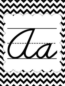 Cursive Alphabet Posters - Black & White Chevron