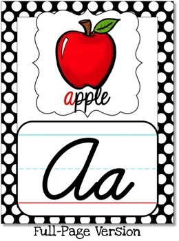 Cursive Alphabet Posters - Black, White & Green Polka Dot