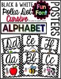 Cursive Alphabet Posters - Black & White Polka Dot {Fun Font}