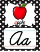 Cursive Alphabet Posters - Black & White Polka Dot with Color Pictures